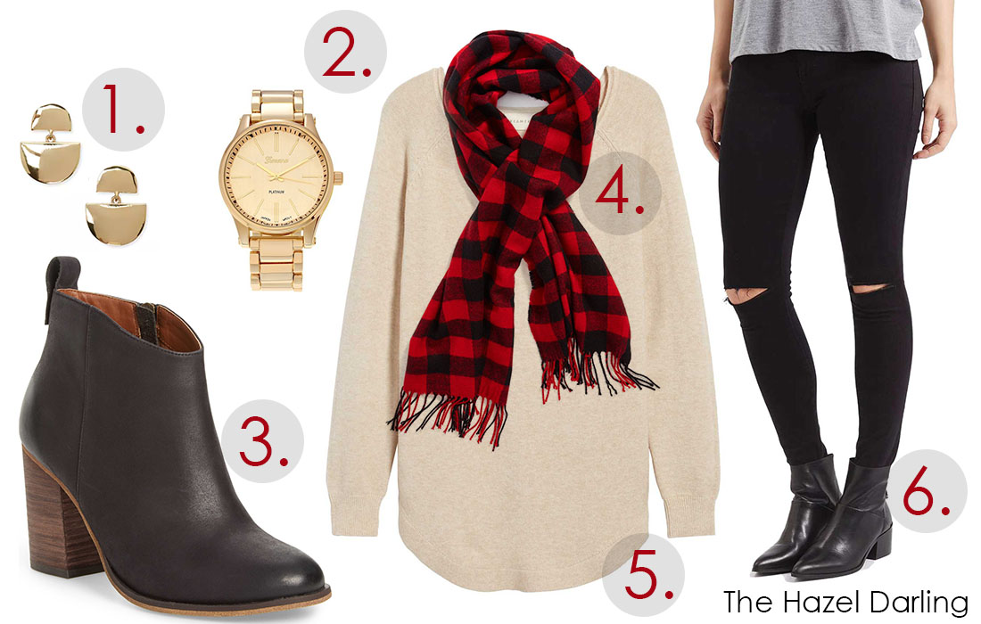 Weekly Outfit Inspiration: Plaid and Gold