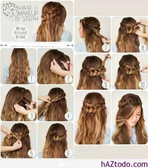 Peinados con trenzas y pelo suelto para adolescentes paso a paso.