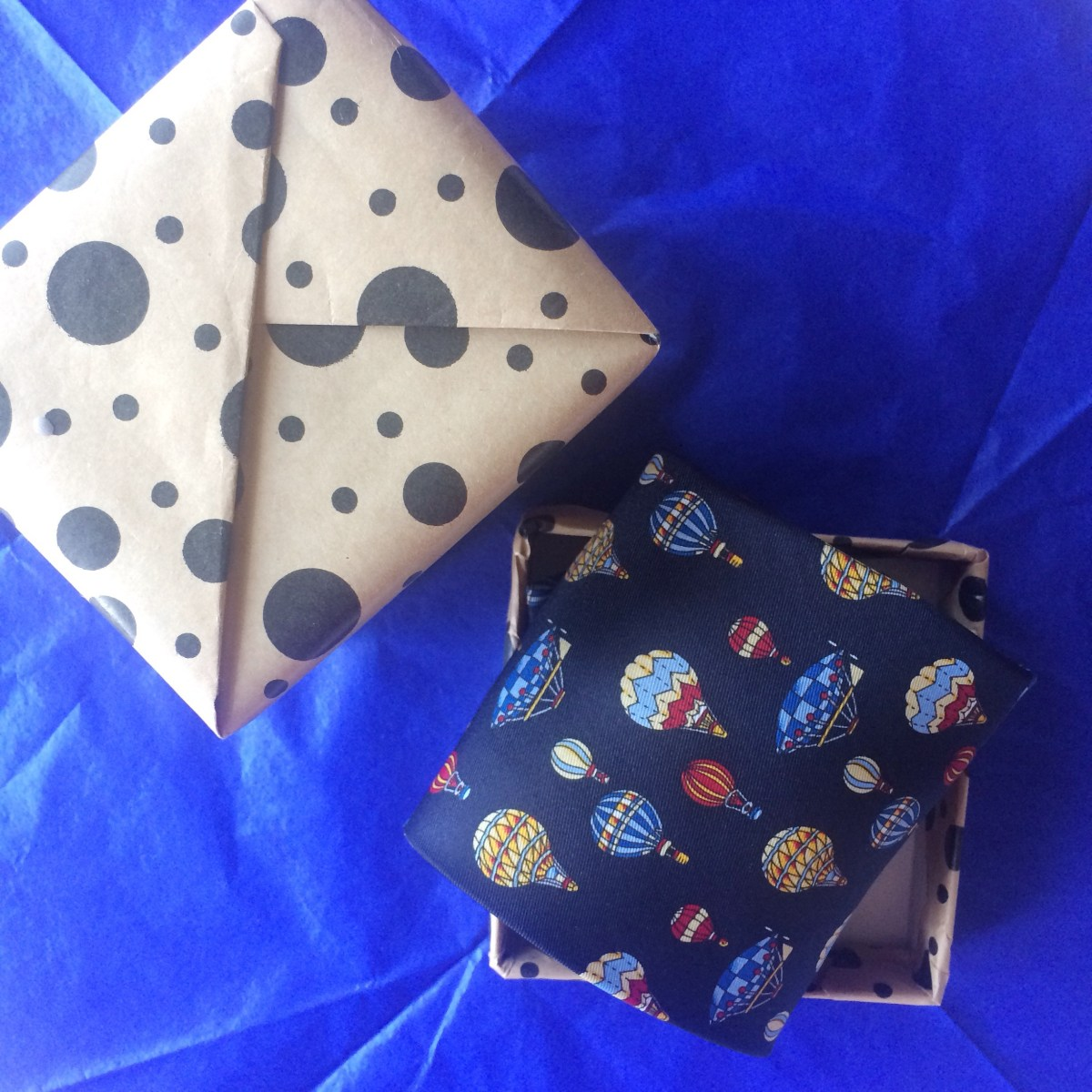 Blue tie up-cycled gift box