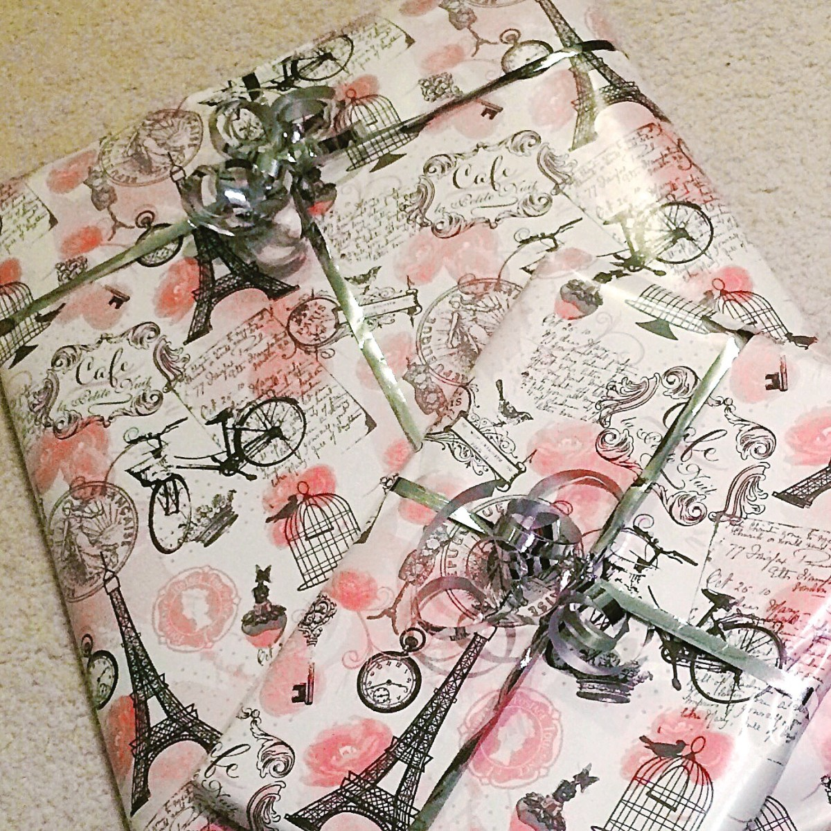 Paris pink wrapping paper silver curling ribbon