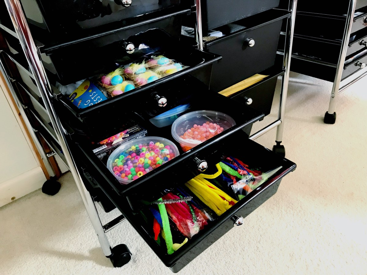 Oypla storage trolley easter crafts, beads and pip cleaners drawers