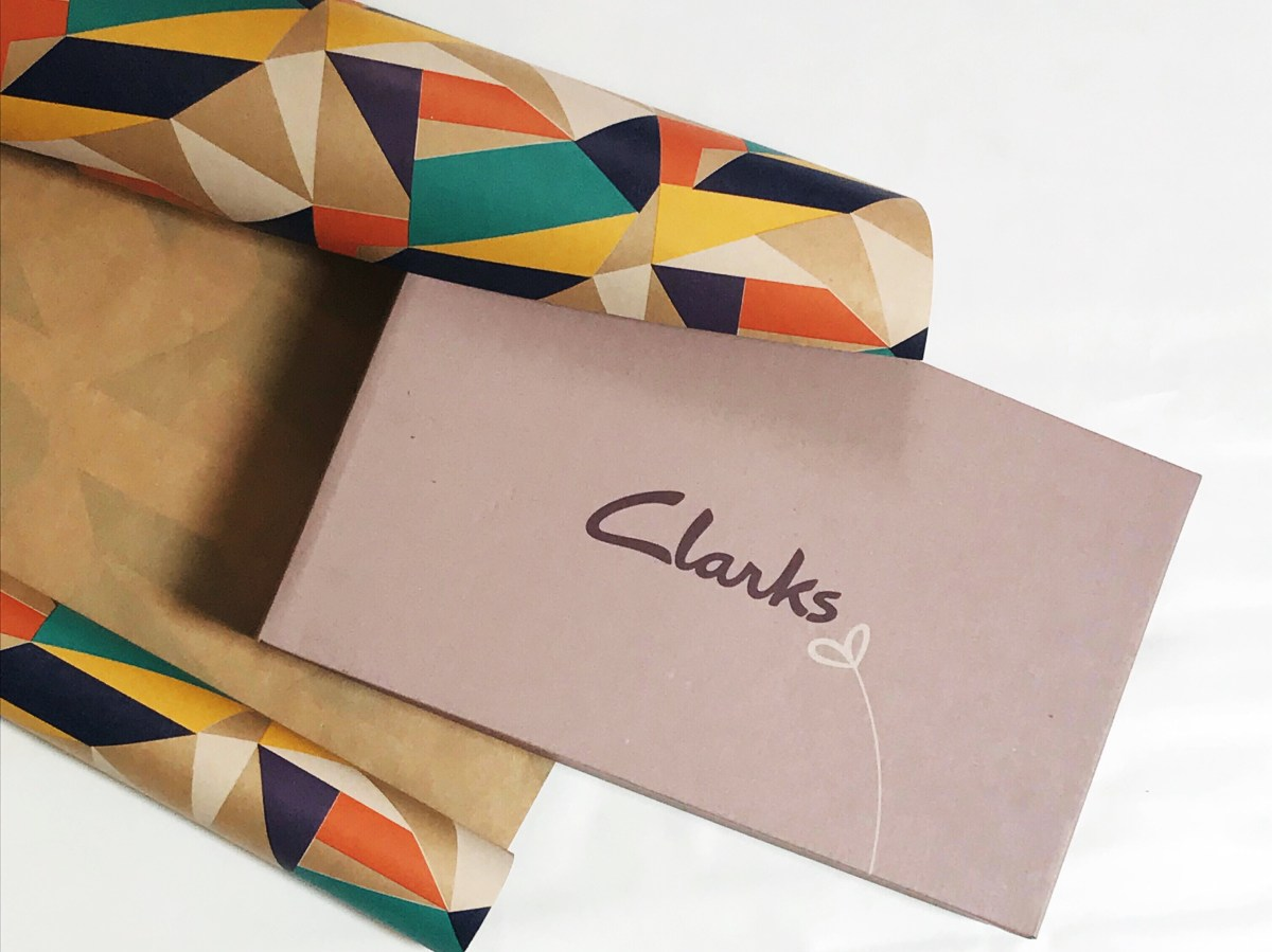 Clarks shoebox with geometric paper