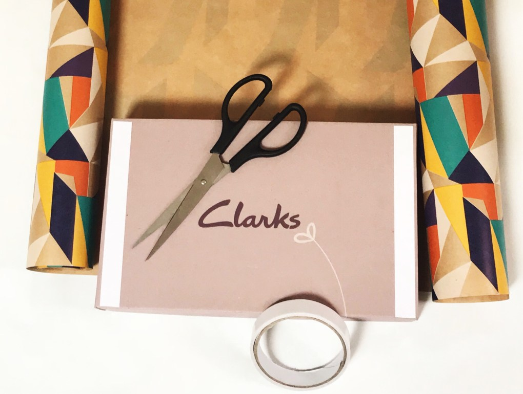 Clarks Shoebox with scissors and double-sided tape