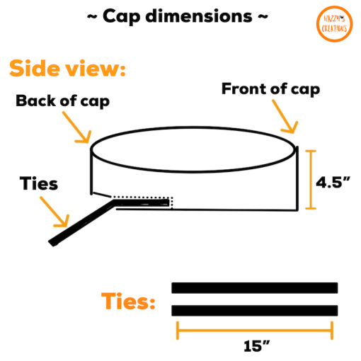 Side view and ties of surgical cap