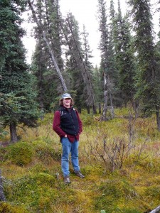 Michael in the forest between the Teklanika Campground and the Park Road