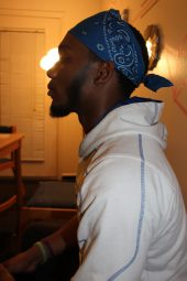 Pictured is Tennessee State University student, Damarkus Jones, as he poses as his homeless personality