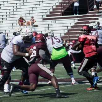 Malcolm Bell practices with his NCCU teammates during preseason action. (Steven J. Gaither)