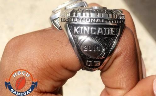 Grambling quarterback DeVante Kincade's championship ring.