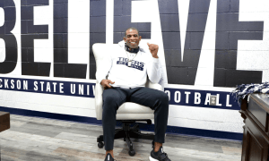 Deion Sanders with new Jackson State Under Armour gear