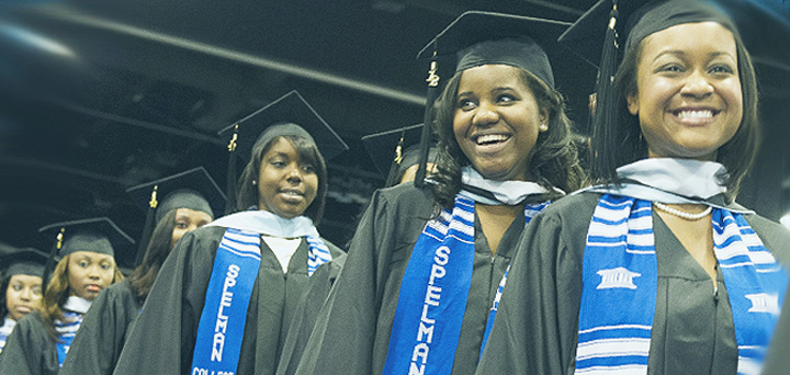 Spelman College students line up at their Graduation Ceremony.