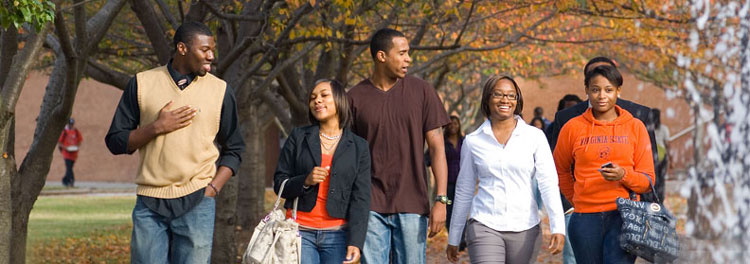 Students walking during fall on the campus of Virginia State-University.