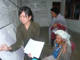 Woman participating in foot size research (North Sumatra, 2009)