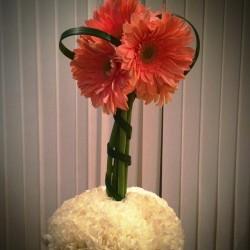 Pink gerbera daisy arrangement with white carnations.  #hazelboivin #hbevents #gerbera #centerpieces