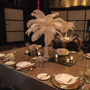 Beautiful feather centerpiece for Toronto Wedding