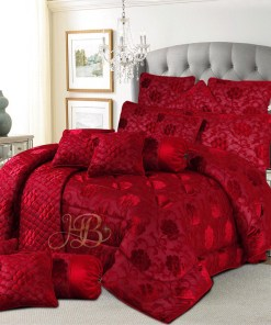 Palachi Velvet Bridal Bed Set 14Pcs Maroon