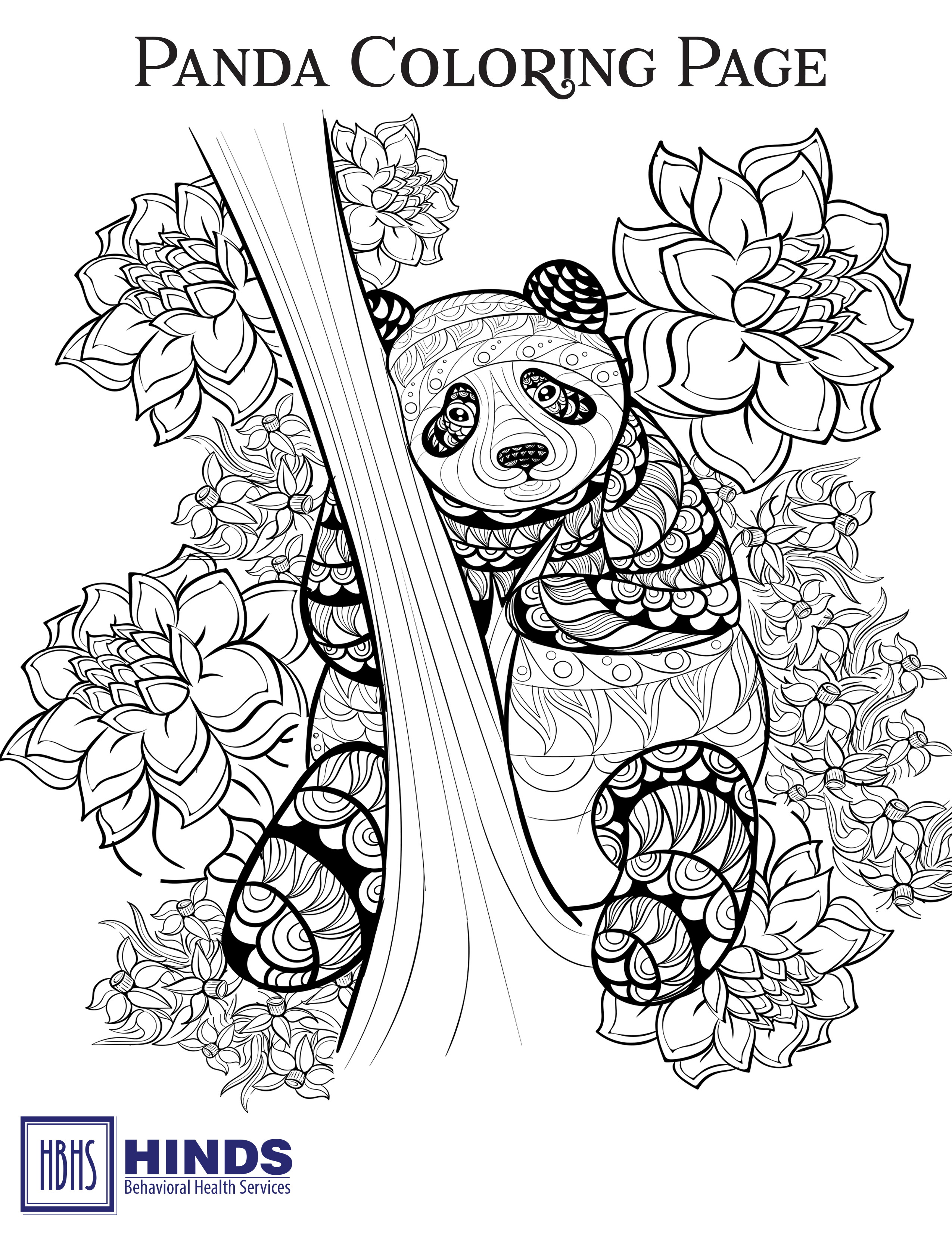 Panda Coloring Page Hinds Behavioral Health Services Region 9