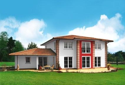 Villa im Stadthausstil weiß rot - mauerwerk
