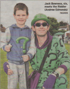 Jack Bowness, six, meets the Riddler (Andrew Edmonds)