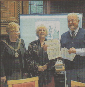 AWARD: Lord Mayor Ann TayIor, Pauline Walters and David Lewis