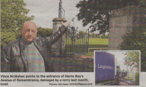 Vince McMahan points to the entrance of Herne Bay's Avenue of Remembrance, damaqed by a lorry last month, inset