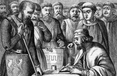 King John of England signs the Magna Carta in Runnymede in 1215