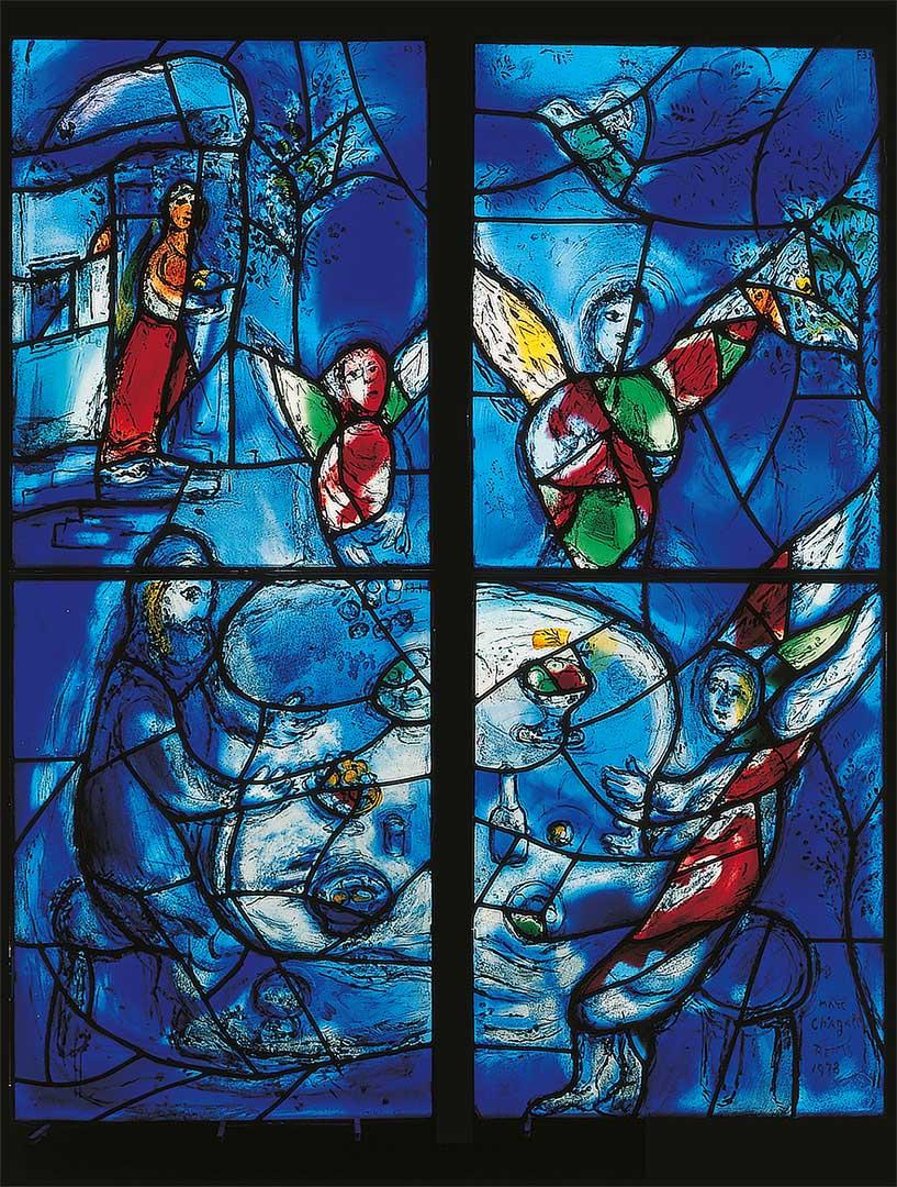 Marc Chagall / Charles Marq, Abraham und die drei Engel, Chorfenster, (Ausschnitt /Detail), 1978,