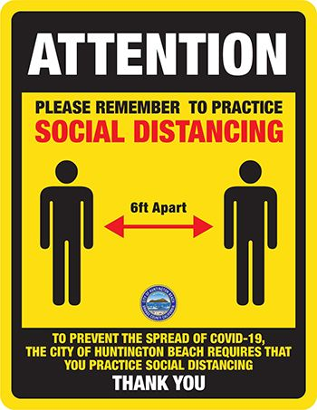 Yellow Social Distancing Sign