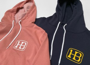 Coral and Blue 1 HB logo Hoodie