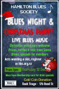 Hamilton Blues Society NZ Christmas Party Poster