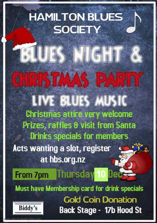 Blues Night & Christmas Party 10th December 2020 poster
