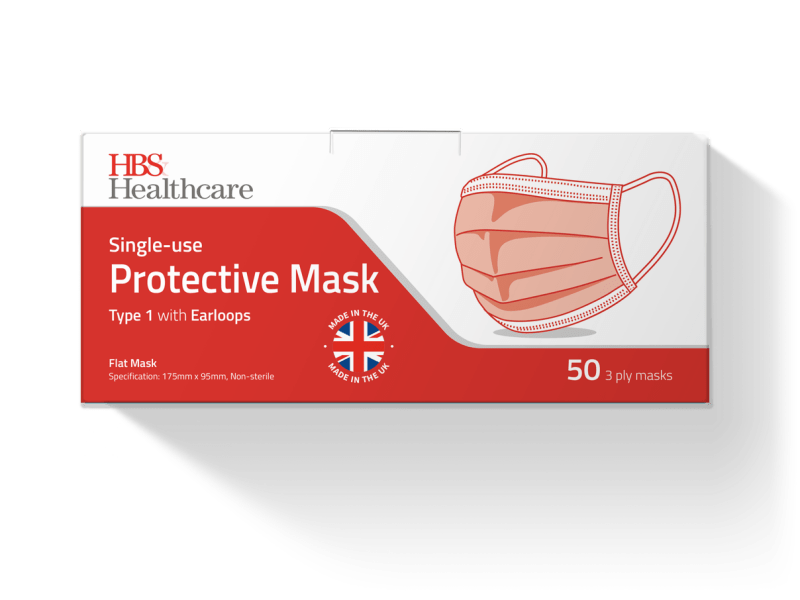 Type 1 Protective Face Masks, Box of 50