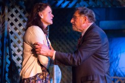 A close-up of Judd Hirsch holding Kathryn Danielle onstage in Talley's Folly, a benefit for HB Studio, provider of NYC acting classes