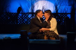 Judd Hirsch and Kathryn Danielle sitting together intimately onstage in Talley's Folly, a benefit for HB Studio, provider of NYC acting classes