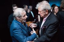 Sam Groom and Richard Mawe conversing at 90th birthday celebration for Helen Gallagher, HB Studio teacher of Singing for the Musical Theater