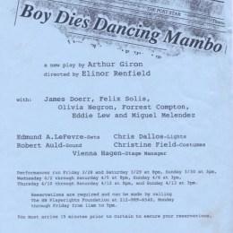 Boy Dies Dancing Mambo - HB Studio
