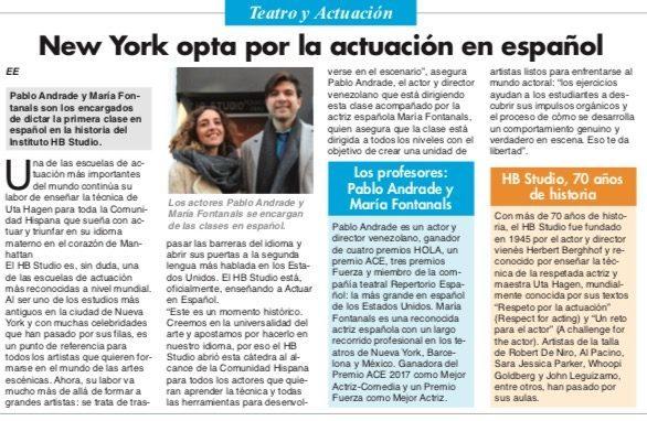 Article in El Especialito newspaper about the Actuar en Español class