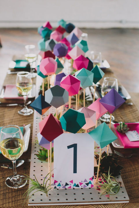 Sarah Park Events created this clever geometric table runner for a wedding, but there's no reason you can't apply the same design ideas to your own table setting. What a great idea for a party!