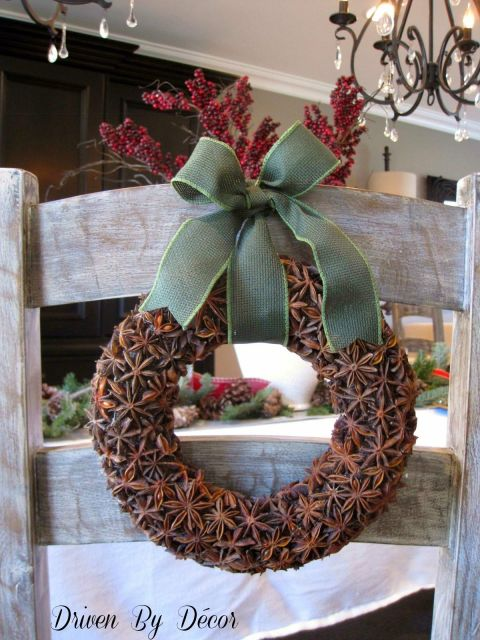 Find star anise at any Asian grocery store to recreate this sweet smelling wreath. See more at Driven By Decor »