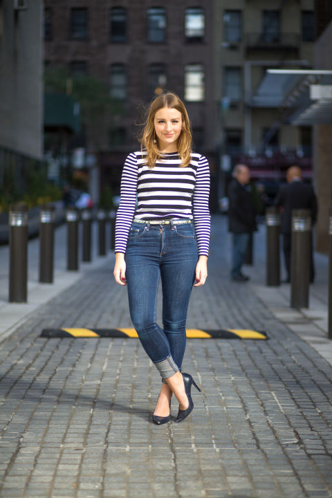 """I like how adaptable high-waist jeans are to various fashion eras—while last season I was all about the seventies flare, this time around I'm pairing a skinny Rag & Bone pair with a mod look: striped Michael Kors top, bauble-earrings, pumps and a belt.""Rag & Bone jeans, $198, rag-bone.com; Michael Kors top; Zara shoes, $99, zara.com."