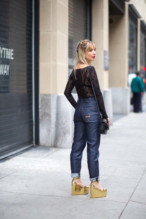 """These monogrammed Vanessa Seward jeans are a made of a raw, structured denim, so I thought this sheer, lace top would make for a nice contrast.""Vanessa Seward jeans, $280, net-a-porter.com; Wolford bodysuit, $325, wolford.com; Celine shoes; Chloe bag, $1,090, stylebop.com."