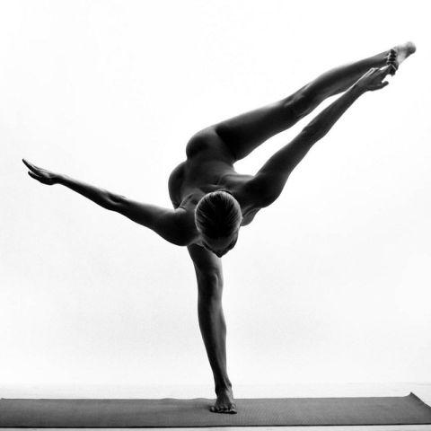 Nude girl yoga