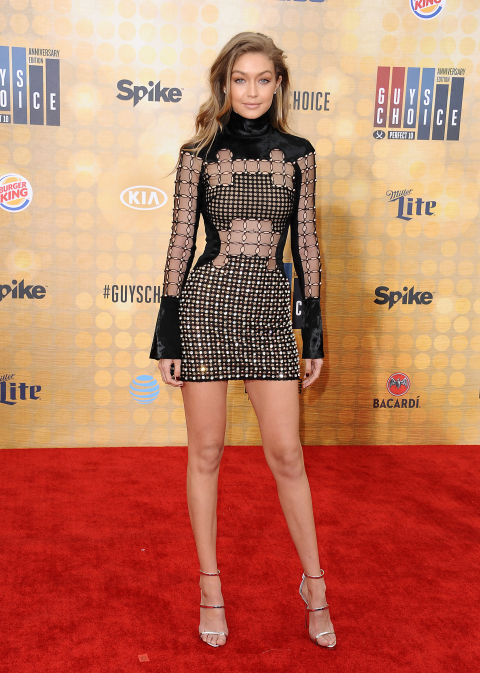 Even wearing a dress full of holes, Hadid looks chic while attending the Spike TV Guys Choice Awards.
