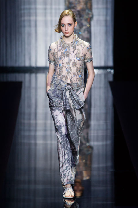 And the finale of sequined dazzlers was certainly relaxed. Draped printed silk pajama pants teamed with sheer and sequined shirts or all-spangled minis that looked just about right for Bali.