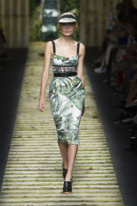 Shaggy insets, tightly cinched waists and visors gave the looks a safari gone wild vibe.