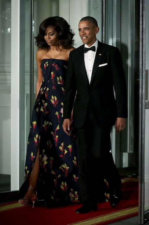 This custom, strapless jacquard gown by Jason Wu is perfection on the first Lady.
