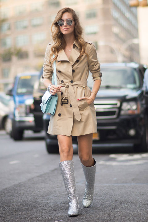 Once relegated to cocktail dresses on New Year's Eve and cocktail waitresses in Las Vegas, sparkles are starting to see the light of day thanks to Saint Laurent's It girl-approved glittery go-go boots.<br /><br /><br /> (Pictured: Chiara Ferragni)<br /><br /><br />