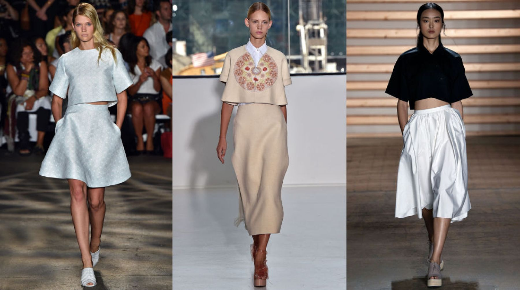 The crop top trend is still going strong, but this time in a less daunting form. Boxy crops feel more ladylike than their skimpy counterparts and are far more forgiving.<br /><br /><br /> (Pictured: Christian Siriano, Honor, Tibi)<br /><br /><br />