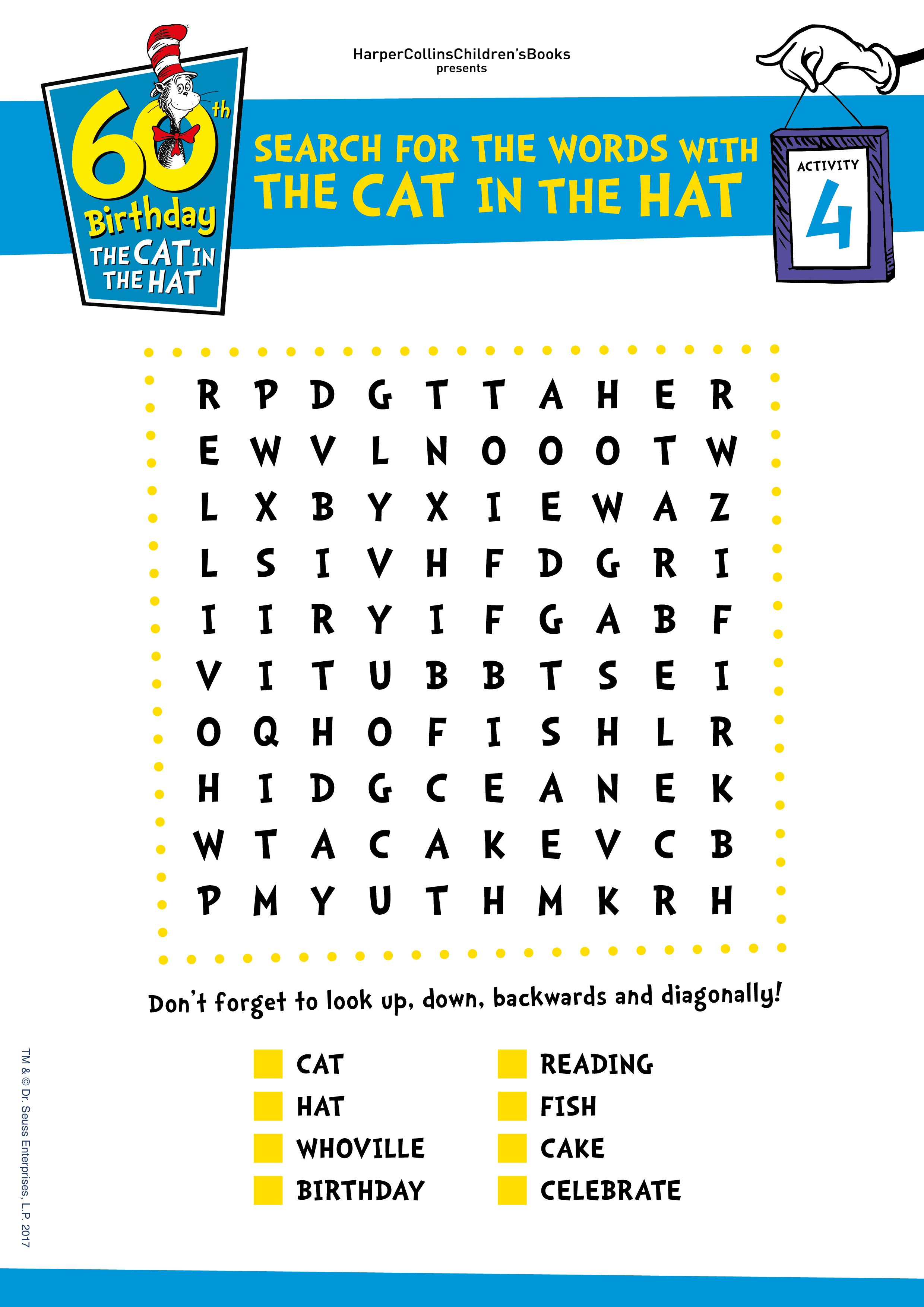 The Cat In The Hat 60th Birthday Activity Sheets