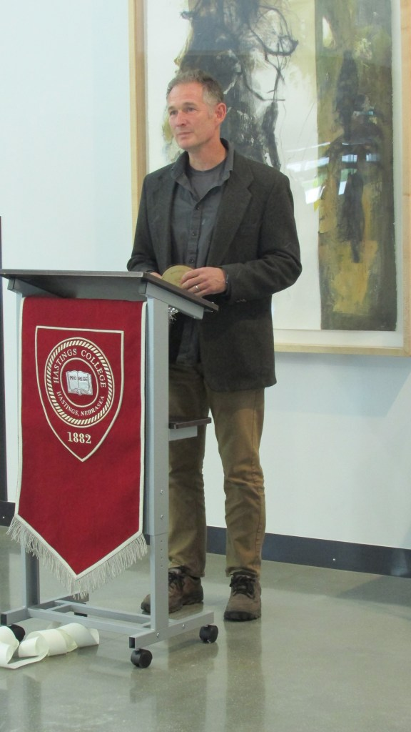 Staab '89 receives his award and induction into the inaugural Hastings College Fine Arts Hall of Fame for art.