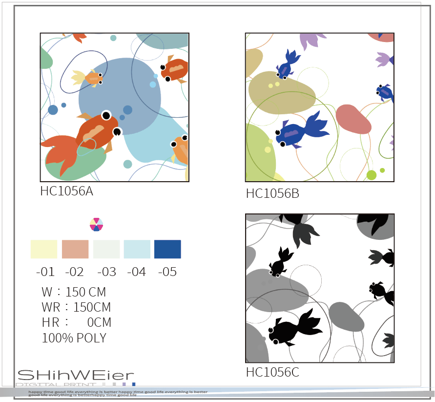 DIGI-PRINT CUSHION-HC1056 swimming fish